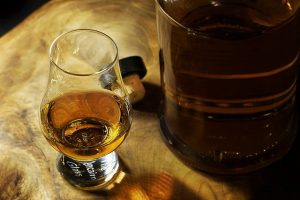 whiskey and bourbon glass on table