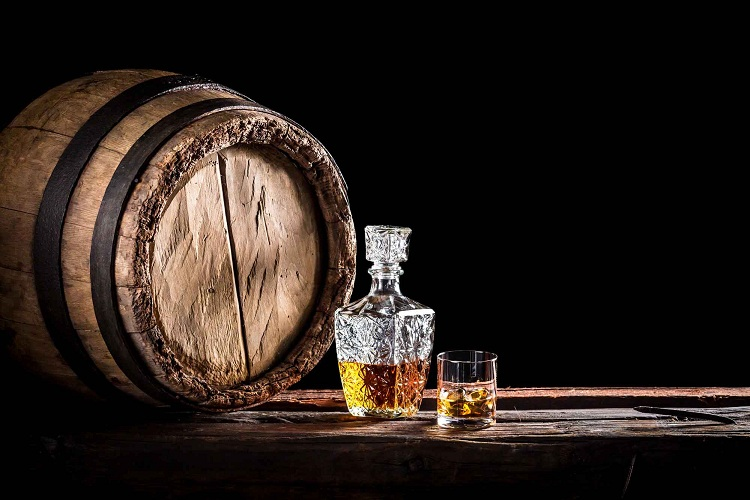 Whiskey Barrels Gently Filer the Alcohol